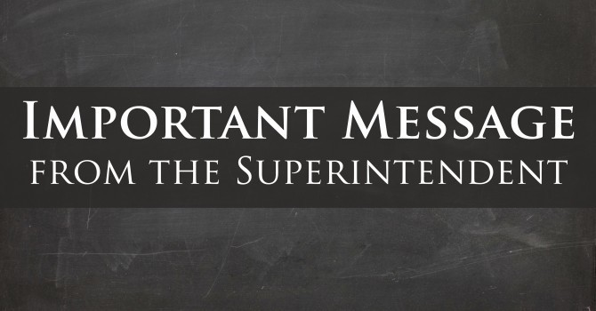 Message from Superintendent Pace