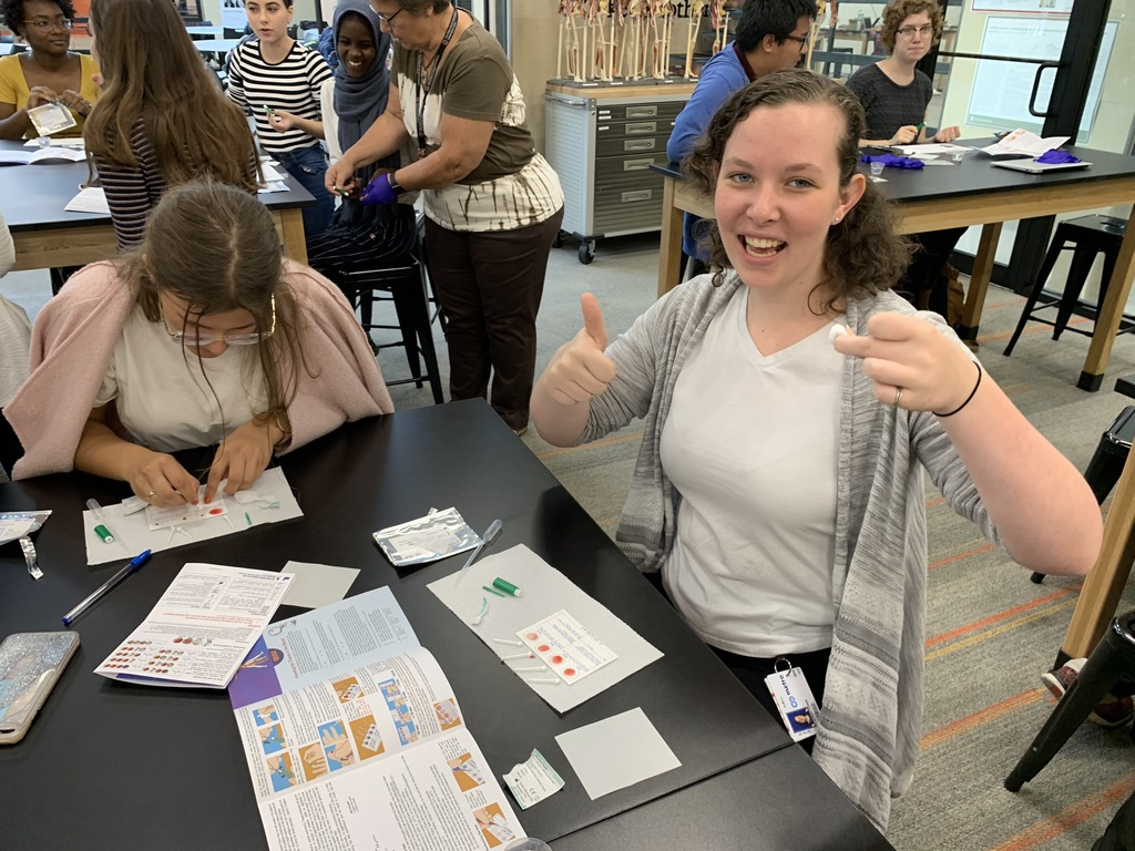 Student is excited about knowing her blood type.