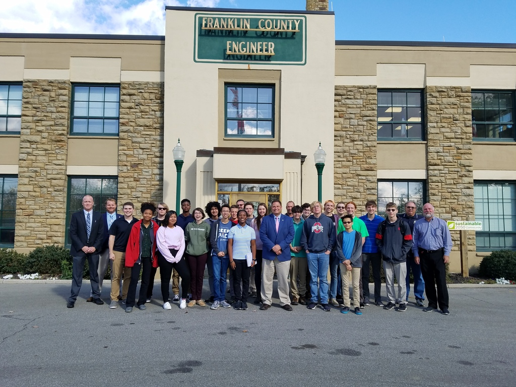 Design students with Cornell Robtertson, county engineer, and other staff at FCEO.