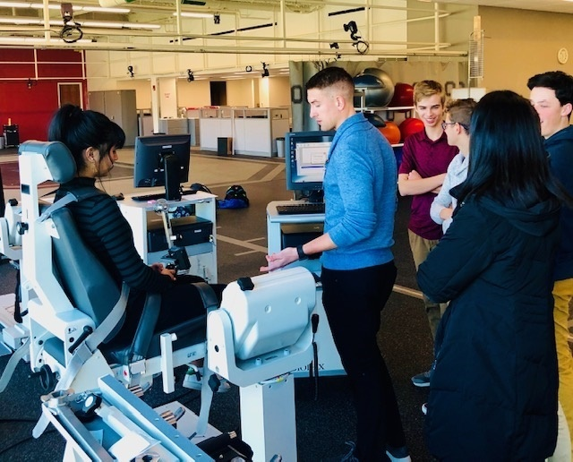 Students learn about kinesiology at Jameson Crane Center.