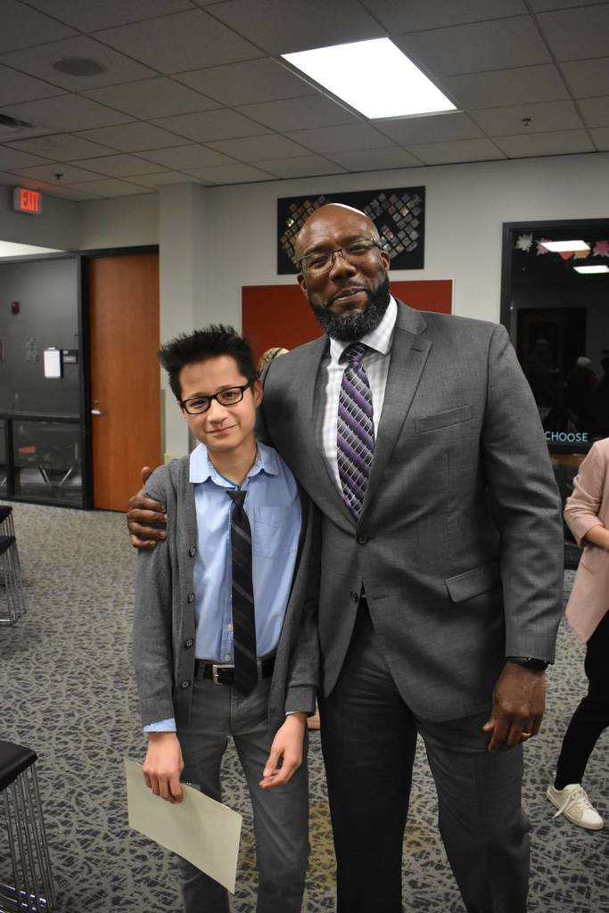 Mr. Alston and student Drew Pang after the ceremony