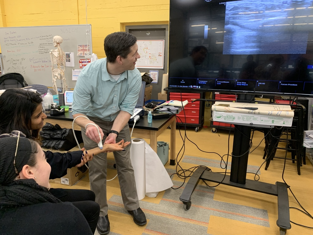 Student engages in ultrasound demonstration.